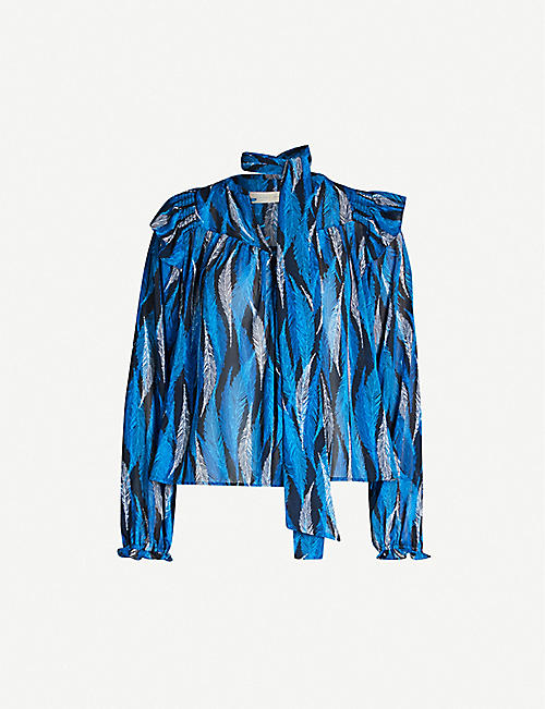 HAPPY X NATURE Anouk feather-print recycled polyester top