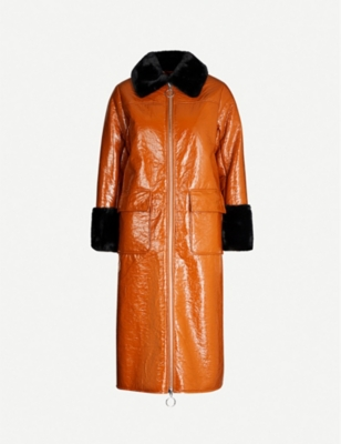 Kristen faux-fur-trimmed patent faux-leather coat - Tan