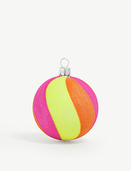 CHRISTMAS Neon swirl bauble 7cm