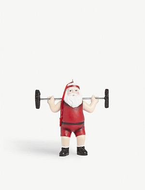 CHRISTMAS Weightlifting Santa Christmas glass bauble 10cm