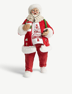 CHRISTMAS Santa with coffee and music figure 28cm