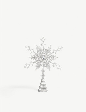 CHRISTMAS Glitter snowflake star Christmas tree topper 22cm