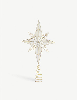 CHRISTMAS Floral star capiz tree topper 32cm
