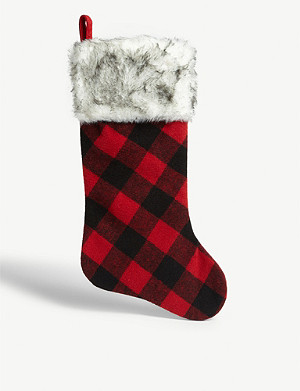 CHRISTMAS Check-print Christmas stocking 46cm x 18cm