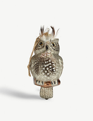 CHRISTMAS Feathered owl Christmas tree ornament 12.5cm