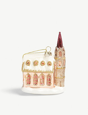 CHRISTMAS Glitter church Christmas tree ornament 12cm