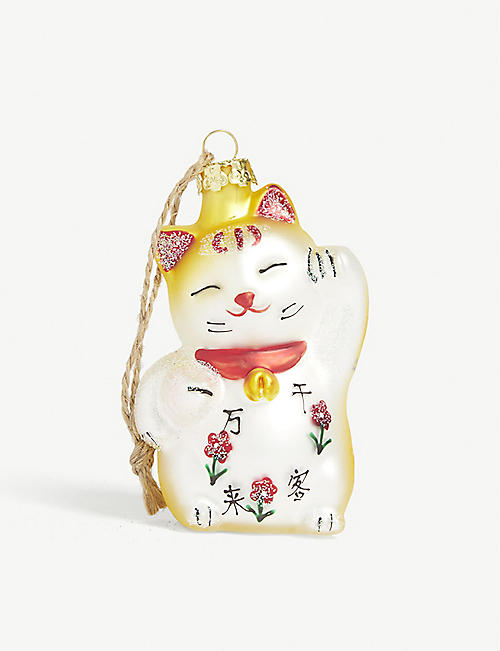 CHRISTMAS Maneki-neko cat with fish Christmas tree ornament 8.5cm