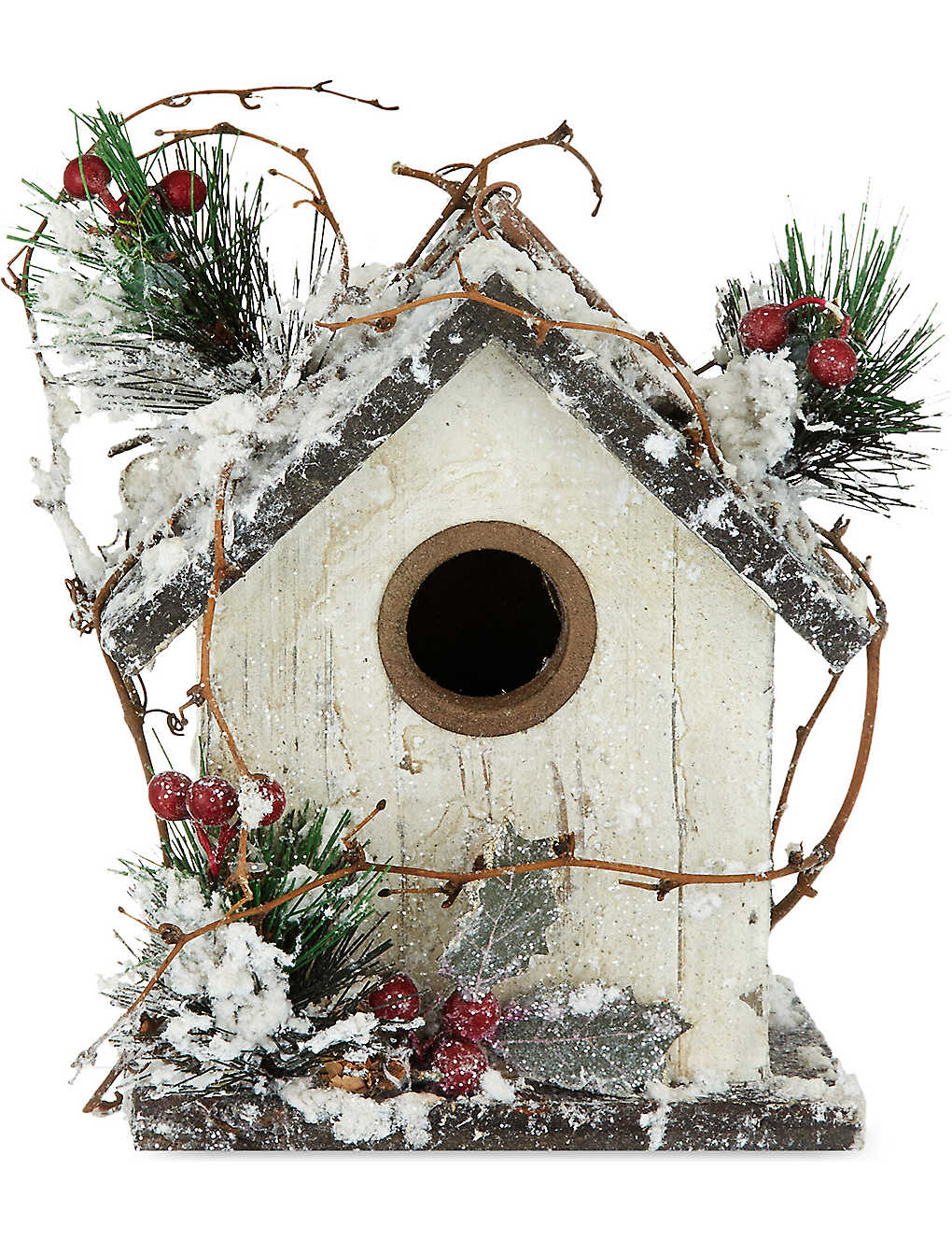 STERLING: Wooden bird house Christmas decoration