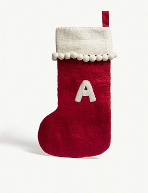 CHRISTMAS Alphabet 'A' medium felt stocking 50cm