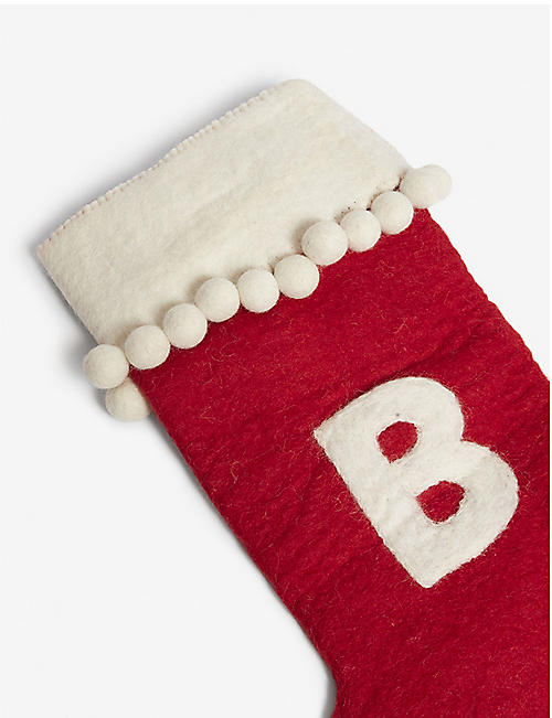 CHRISTMAS Alphabet 'B' medium felt stocking 50cm