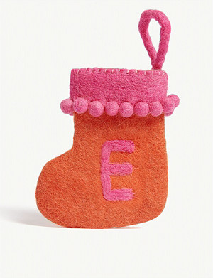 CHRISTMAS E initial mini Christmas stocking 13.5cm