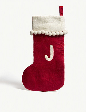 CHRISTMAS Alphabet 'J' medium felt stocking 50cm