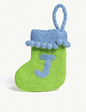 CHRISTMAS J initial mini Christmas stocking 13.5cm