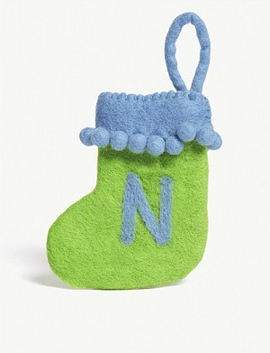 CHRISTMAS N initial mini Christmas stocking 13.5cm