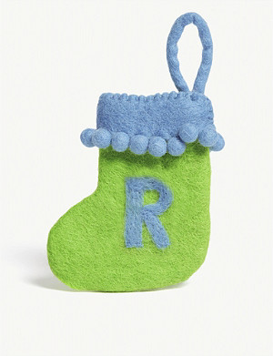 CHRISTMAS R initial mini Christmas stocking 13.5cm