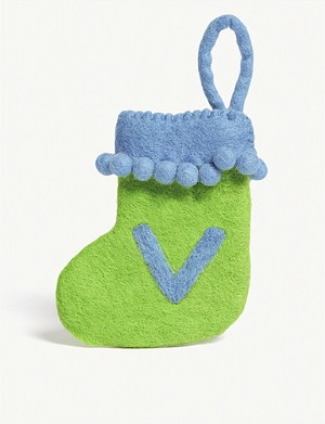 CHRISTMAS V initial mini Christmas stocking 13.5cm