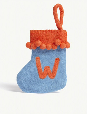 CHRISTMAS W initial mini Christmas stocking 13.5cm