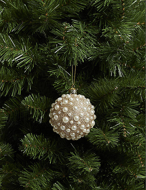 CHRISTMAS Glitter and pearl detail bauble 2.5cm