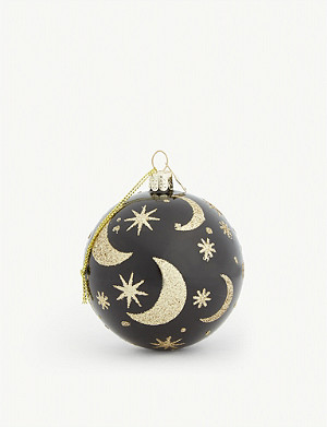 CHRISTMAS Star and moon detail bauble 8cm