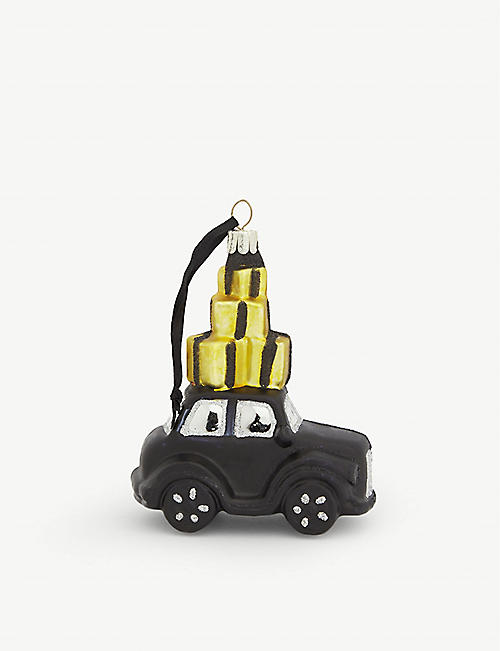 CHRISTMAS Selfridges Christmas taxi glass decoration 11cm