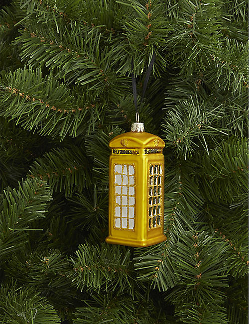 CHRISTMAS Selfridges phone box glass Christmas decoration 10cm