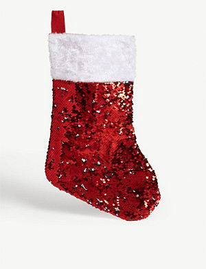 FESTIVE Sequinned Christmas stocking 39cm
