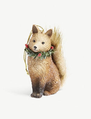 CHRISTMAS Resin fox hanging ornament 6cm