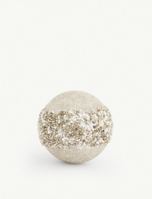 CHRISTMAS Embellished glitter glass bauble 9cm