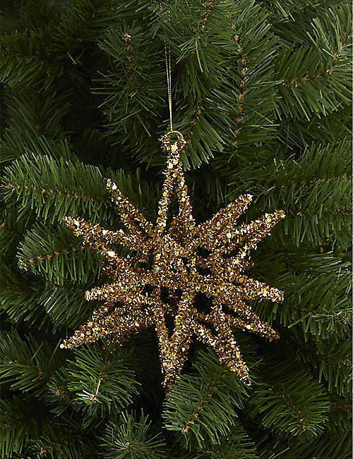 CHRISTMAS Tinsel star decoration 21cm