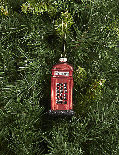 GISELA GRAHAM London phone box glass hanging ornament 10cm