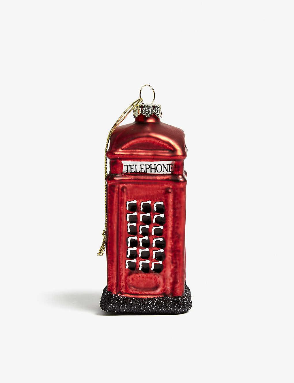 GISELA GRAHAM - London phone box glass hanging ornament 10cm