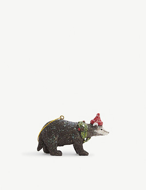 CHRISTMAS Glitter badger Christmas tree ornament 7.5cm