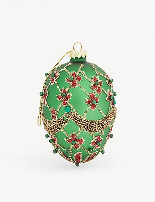 GISELA GRAHAM Glitter and bead-embellished glass bauble 12cm
