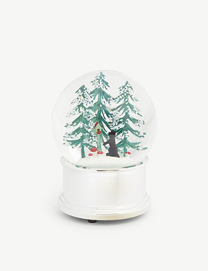 CHRISTMAS Winter forest cat musical snow globe 13cm