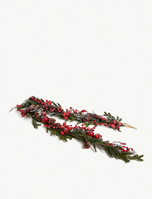CHRISTMAS Frosted berry fir branches Christmas garland 180cm