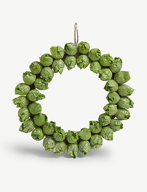 CHRISTMAS Brussel Sprout Christmas hanging wreath 29cm