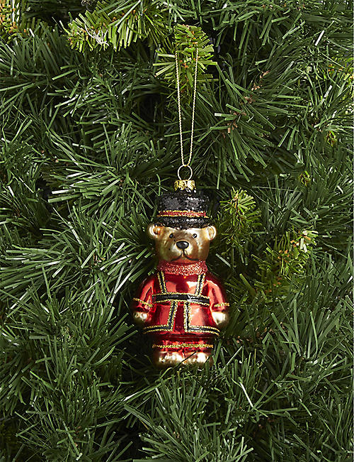 GISELA GRAHAM Beefeater Teddy glass hanging ornament 10cm
