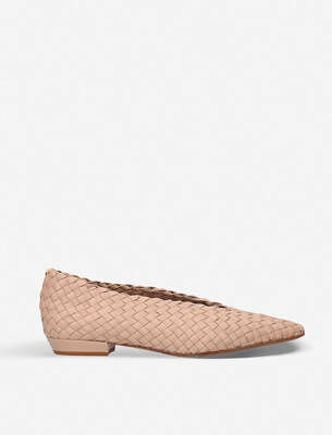 BOTTEGA VENETA INTRECCIATO WOVEN LEATHER FLATS