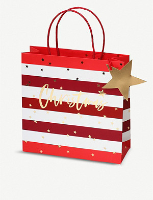 BELLY BUTTON DESIGNS Striped medium Christmas gift bag 22x22cm