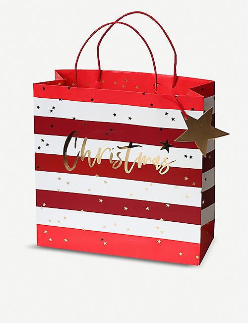 BELLY BUTTON DESIGNS Striped large Christmas gift bag 30x30x12cm