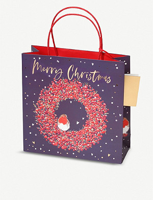 BELLY BUTTON DESIGNS Wreath medium Christmas gift bag 22x22x8cm