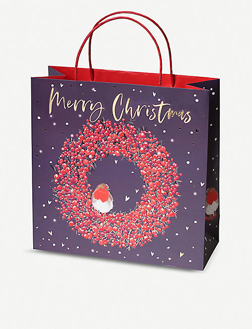 BELLY BUTTON DESIGNS Wreath large Christmas gift bag 30x30x12cm