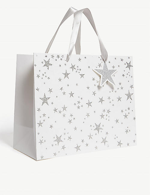 THE UNIQUE PAPER COMPANY Winter wonderland glittery stars large gift bag