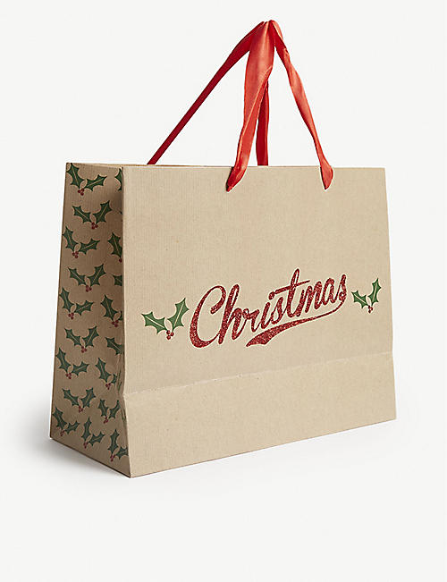 THE UNIQUE PAPER COMPANY Glitter Christmas gift bag