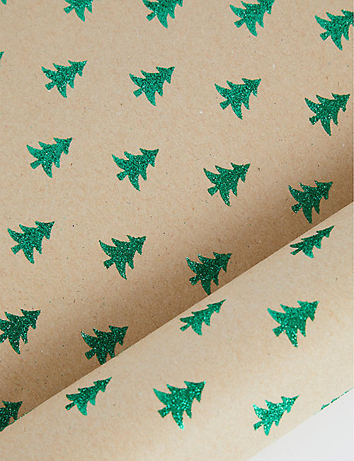 THE UNIQUE PAPER COMPANY Glittery green tree kraft wrapping paper 2m