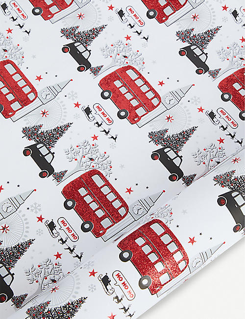 THE UNIQUE PAPER COMPANY Glitter-detail London scene wrapping paper 2m