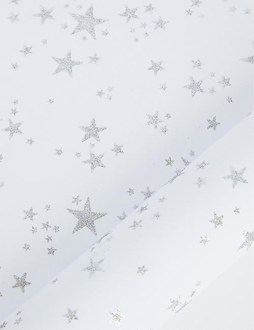 THE UNIQUE PAPER COMPANY Winter wonderland glittery stars wrapping paper 2m