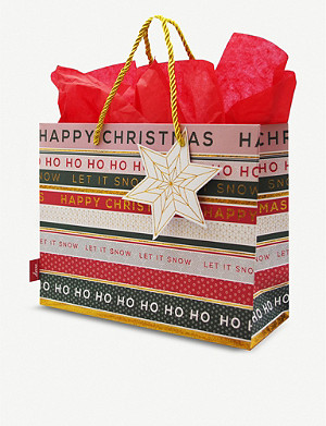 DEVA DESIGNS Striped Christmas medium gift bag