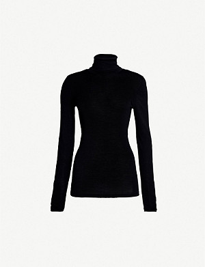 HANRO Turtleneck wool and silk-blend polo top