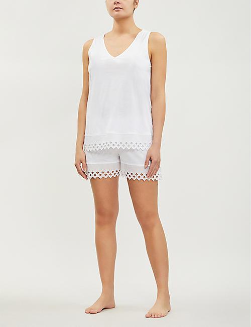 d07246a7988 HANRO Bella embroidered-panel cotton-jersey pyjama set. Quick Shop